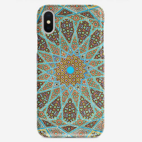 GUOOPE Compatible iPhone X Case Persian Oriental Ornamental Islamic Floral Mosaic Unique Pattern Design Slim Fit Shell Hard Plastic Full Protective Anti-Scratch Resistant Cover -