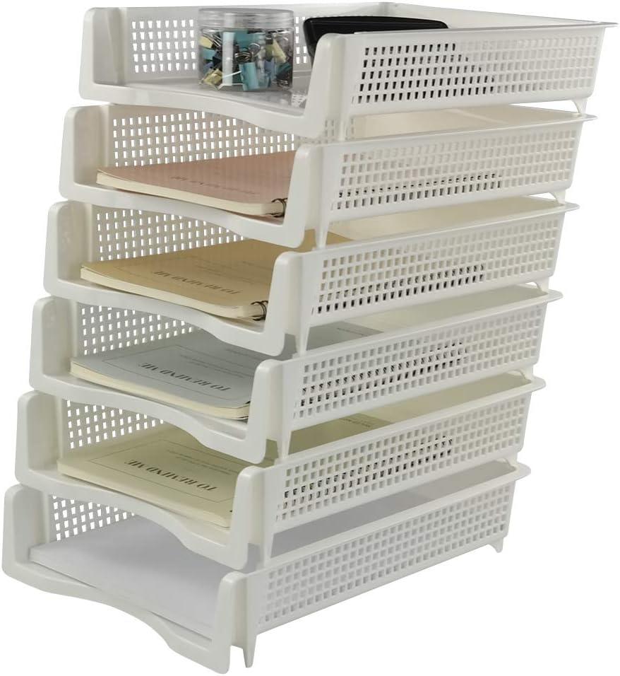 Sandmovie Bandejas de Plástico para Documentos de Escritorio Apilables, Color Blanco, 33cm x25,5cm x 7,3cm, 6 Unidades