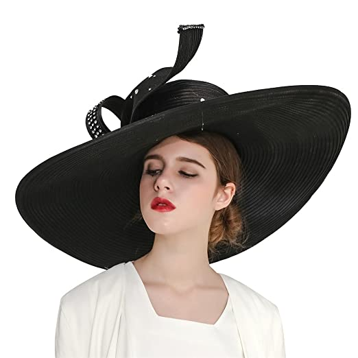 85fee8bba09 Kueeni Women Hats Hot Red Color Church Hats Lady Party Wear Fedoras Hats  (Black)