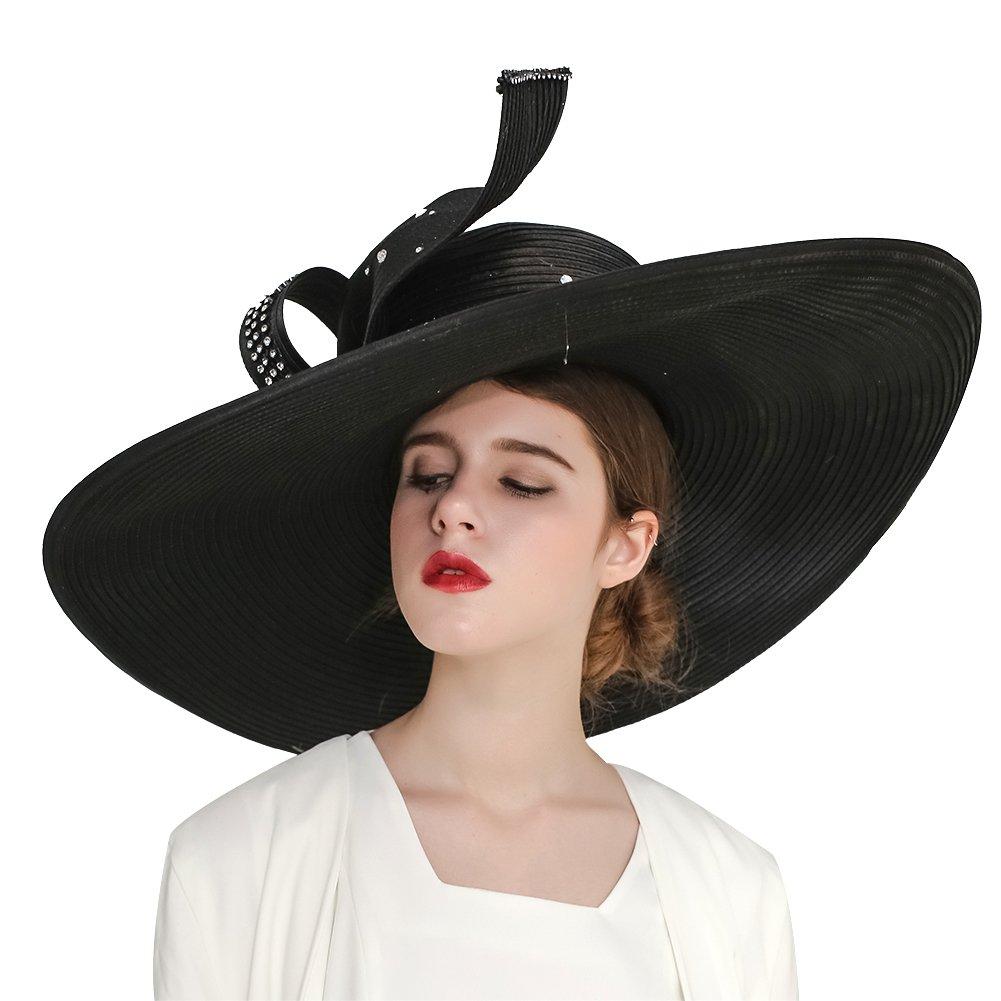 Kueeni Women Hats Hot Red Color Church Hats Lady Party Wear Fedoras Hats (Black)