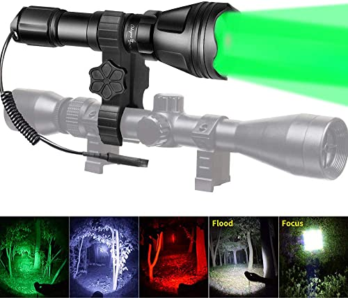 500 Yards Green Red LED Hunting Flashlight Coyote Hog Fox Predator Rifle Mount