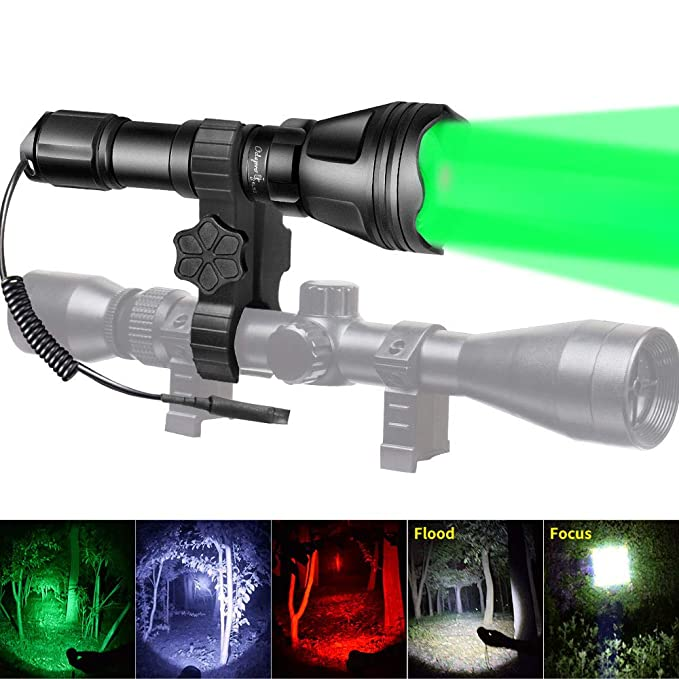 Odepro KL52Plus Zoomable Hunting Flashlight with Red Green White and IR850 Light LED Lamps