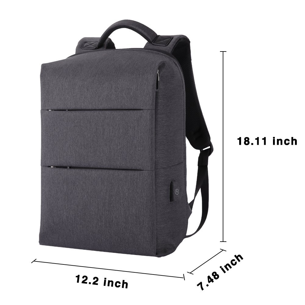 Laptop Backpack for Business Travel Backpack Fit 15 inch Outdoors Large Capacity 60 Degrees Extended with USB Charging Port Anti Theft Water Resistant Padded Straps without Shock for Men Women, Black by Nuheby (Image #7)