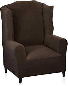 MAXIJIN Newest Jacquard Wingback Chair Covers 1-Piece Stretch Wing Chair Covers Soft Thick Wingback Armchair Slipcover Chair Furniture Protector Cover Washable (Wing Chair, Dark Coffee)