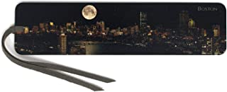 product image for Boston Under Full Moon, Wooden Bookmark with Suede Tassel - Also Available Personalized