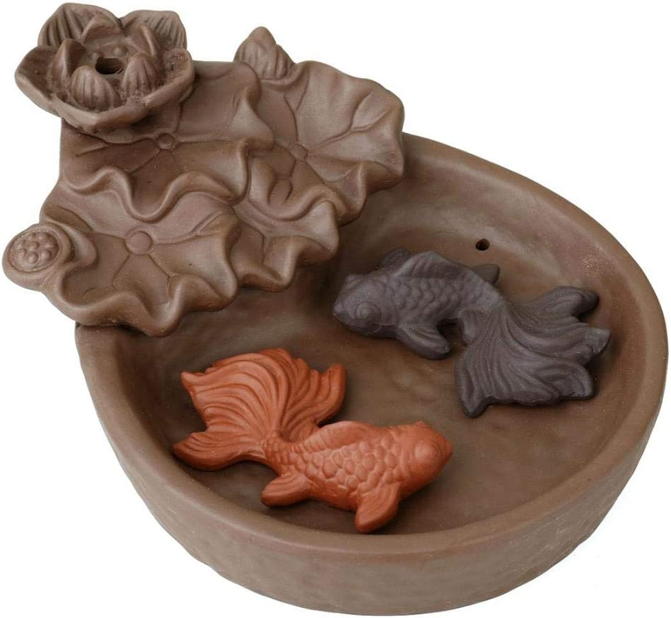 Cone Stick Holder Backflow Incense Holder Waterfall with 10pcs Free Cones for Home Decor Fish Pond Backflow Incense Burner