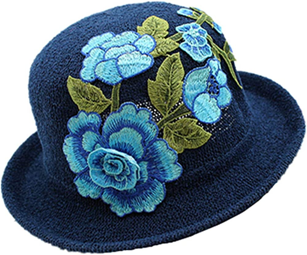 Embroidery OEENOC Embroidery Ethnic Wind-Straw-Cap Plant Patterns for Tourist Beach
