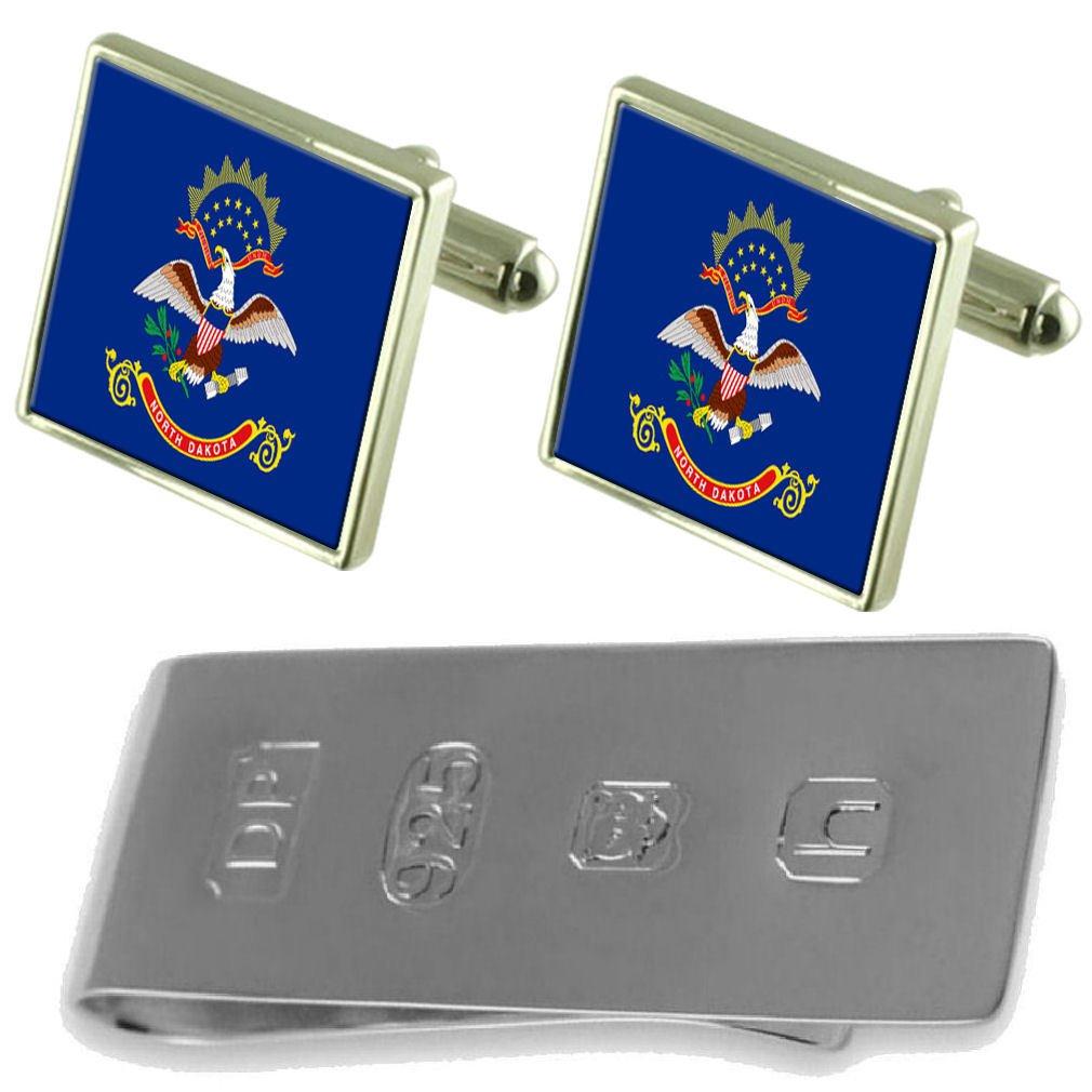 Select Gifts North Dakota Flag Cufflinks /& James Bond Money Clip