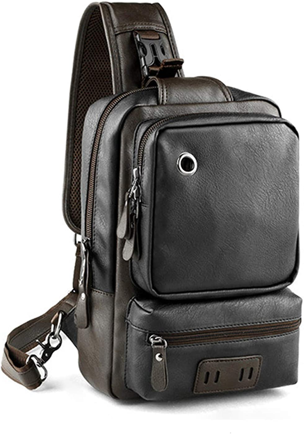 Bestsent Men s Leather Sling Bag Chest CrossBody Bag Casual Backpack for 11 Inch Ipad Pro