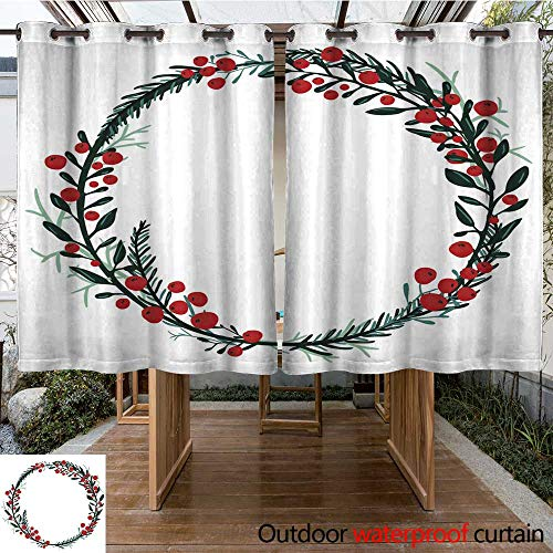 RenteriaDecor Outdoor Balcony Privacy Curtain Hand Drawn Wreath with red Berries and fir Branches W96 x L72 - Fir Roman Wreath