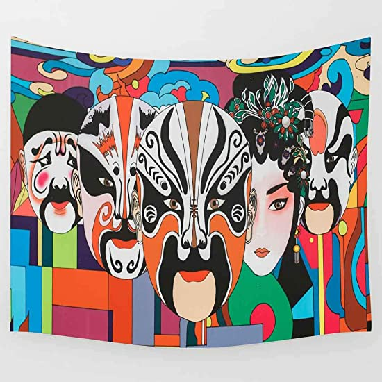 Simsant Peking Opera Tapestry Chinese Element Wall Blanket Beijing Opera Facial Masks Wall Hanging Chinese Art Wall Decor 80x60inches 203.2×152.4CM SIGE165