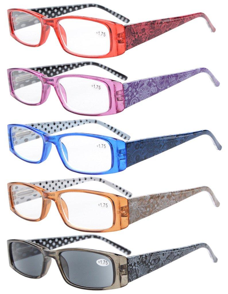 5-Pack Primavera cerniere pois modellato Templi Rettangolare occhiali da lettura Sun Lettori +2.0
