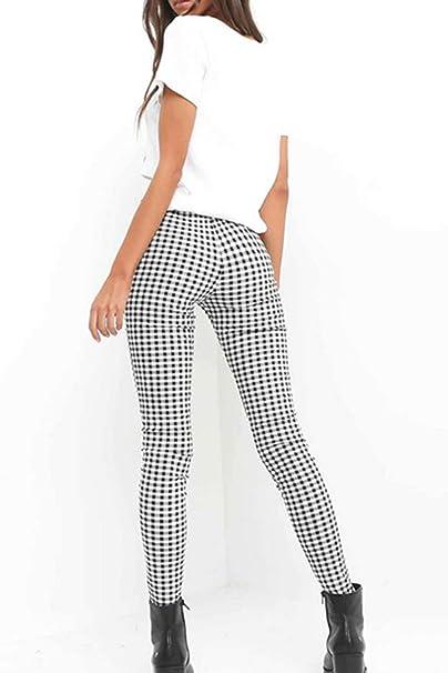 Nimpansa Mujer Pantalones Pitillo De Cintura Alta Pantalones De Cuadros del Casual  Tobillo Cremallera  Amazon.es  Ropa y accesorios 1444b51afdf0