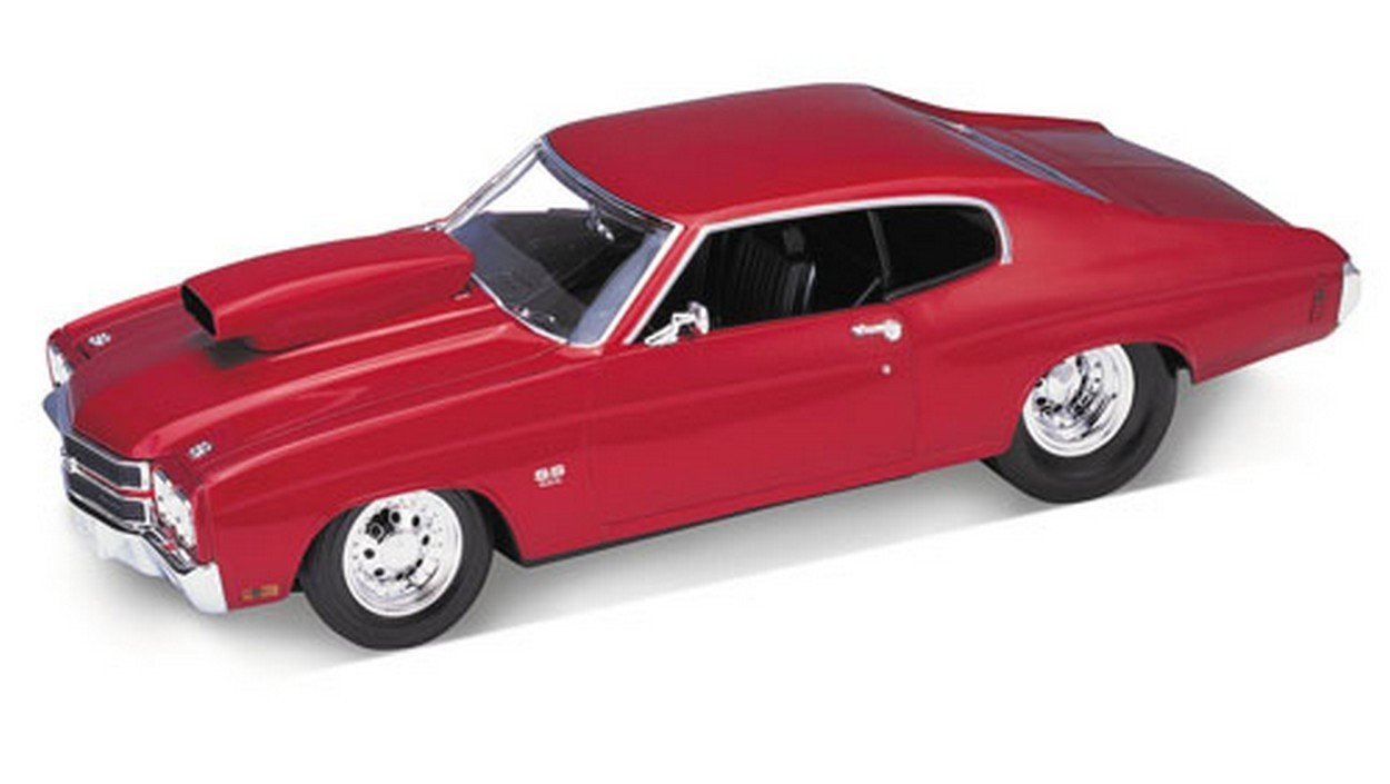 WELLY WE2537 CHEVROLET CHEVELLE PRO STR.1970 METALLIC ROT 1:18 DIE CAST MODEL