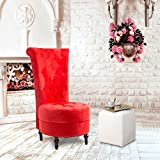 Cloud Mountain Tufted Velvet High Back Classic Cushioned Sofa Couch Living Room Furniture, Red