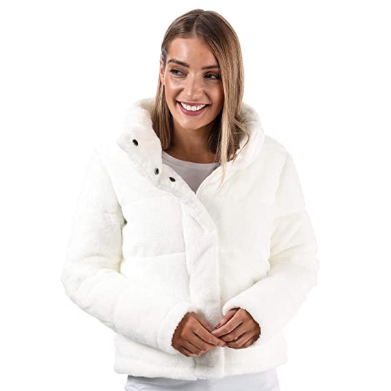 9d91b79b58fc5 Brave Soul Womens Faux Fur Short Puffer Jacket in Cream  Brave Soul   Amazon.co.uk  Clothing