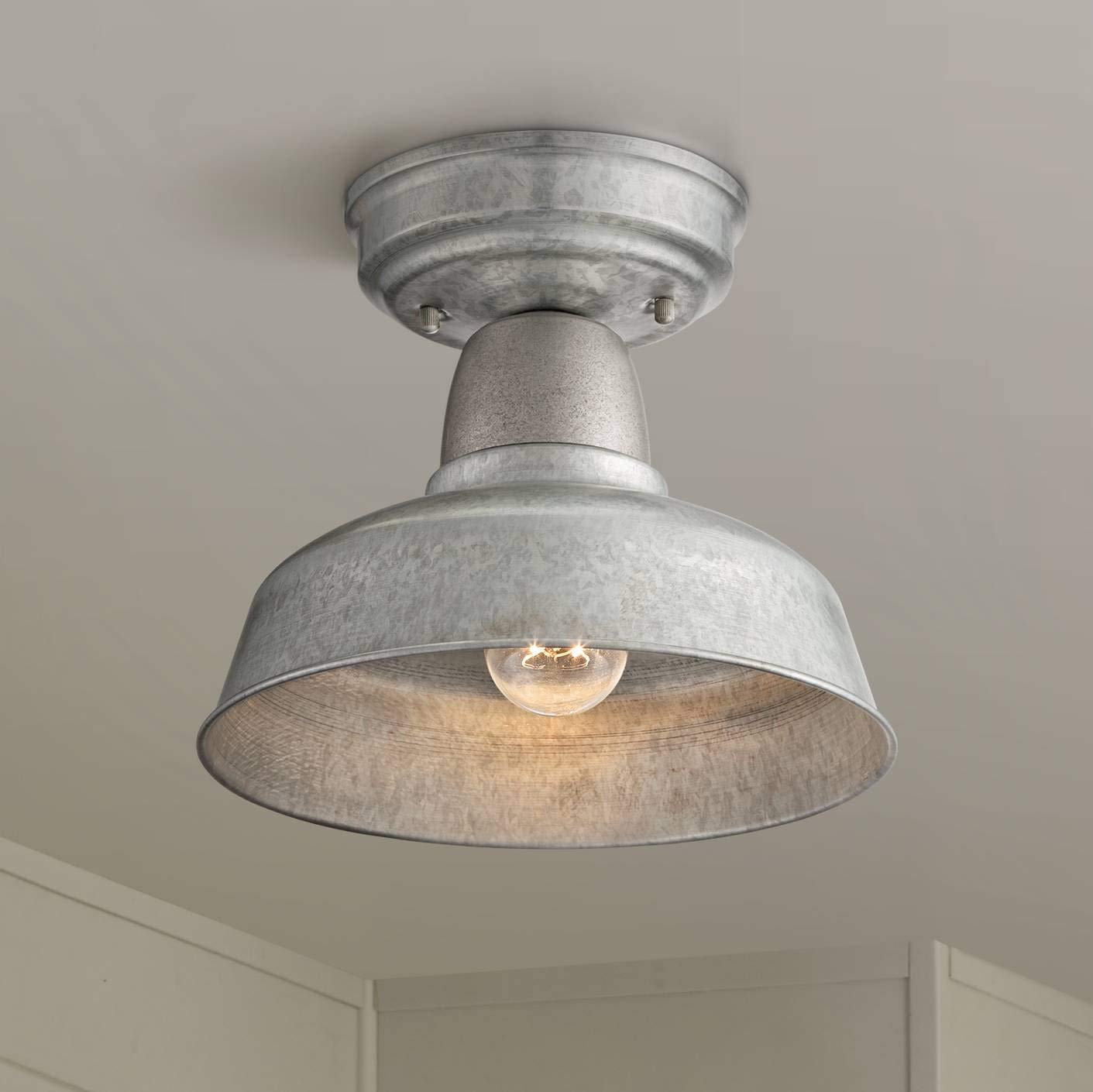Urban barn rustic outdoor ceiling light fixture semi flush farmhouse galvanized 10 1 4 for porch kitchen john timberland amazon com