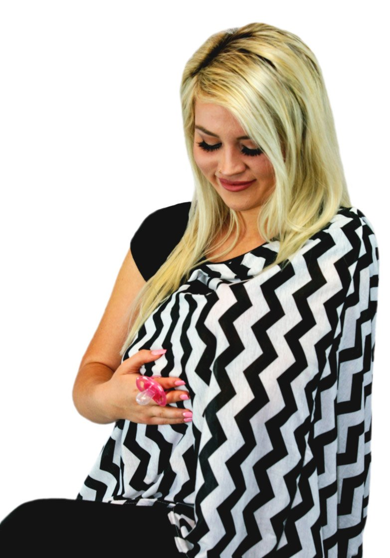 Black /& White Chevron Pattern Multi-Use as Scarf Wearable Infinity Nursing Cover for Breast-Feeding Moms by Tykes /& Tails Changing Pad Burp Cloth or Blanket