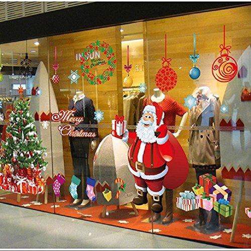 Christmas Window Clings - Christmas Windows Stickers Santa Claus Removable Vinyl Christmas tree DIY Wall Window Door Mural Decal Sticker for Showcase (Red)