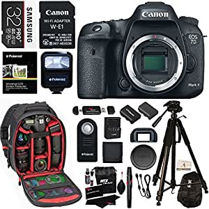 Canon EOS 7D Mark II Digital SLR Camera Body Wi-Fi Adapter Kit, 32GB Card, Ritz Gear Camera Backpack, Polaroid Flash, and Accessory Bundle