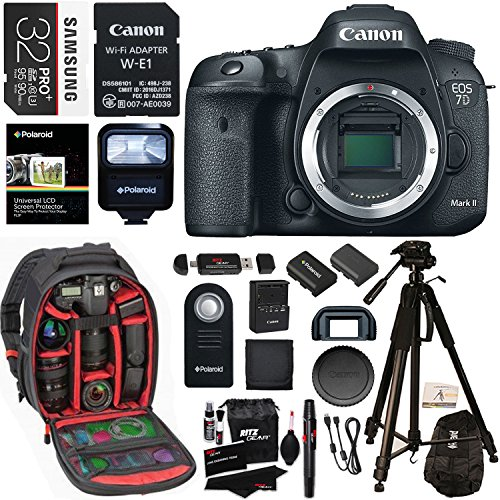 Canon EOS 7D Mark II Digital SLR Camera Body Wi-Fi Adapter Kit, 32GB Card, Ritz Gear Camera Backpack, Polaroid Flash, and Accessory Bundle