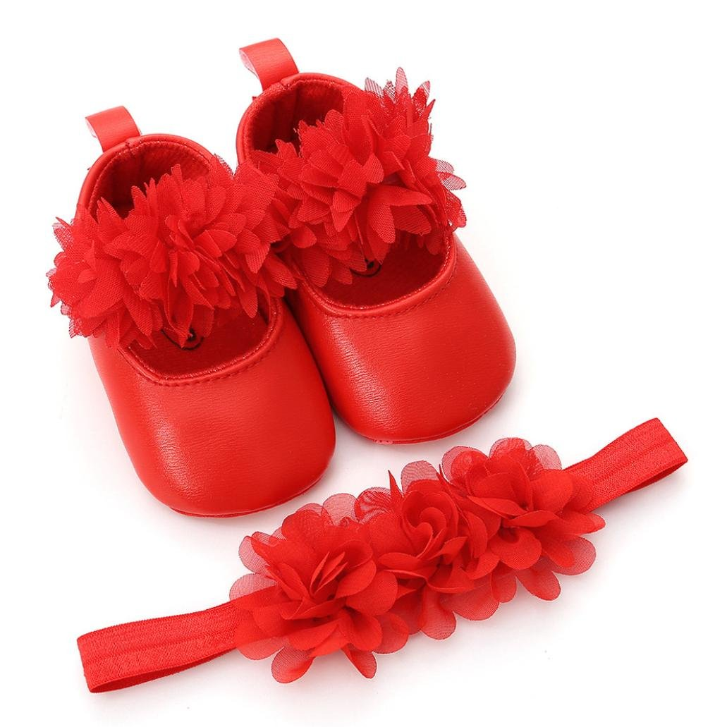 1PC Hairband Longra for 0-18 Mouth Toddler Girls Sandals Baby Kids Cute Flower Leather Fashion Toddler First Walkers Kid Soft Anti-Slip Shoes