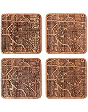 City map coaster, Any Combination of Multiple city Optional, Sapele wooden coaster with city map
