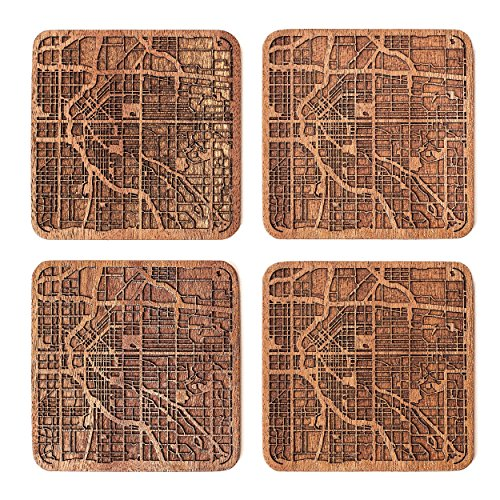 (Denver Map Coaster by O3 Design Studio, Set Of 4, Sapele Wooden Coaster With City Map,)