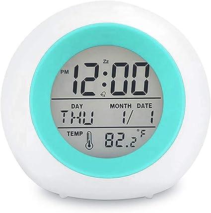 Schlummer Tidyard Digitaler Wecker 7-Farben-Nachtlicht Temperaturerkennung f/ür Kinder gr/ün 5 Klingeltonoptionen Jungen und M/ädchen Schlaf-Timer-LED-Anzeige