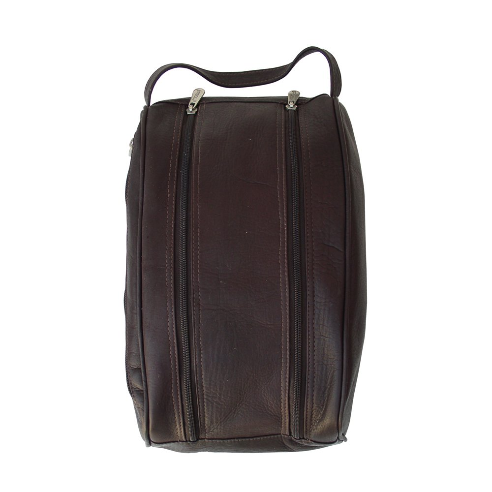 Piel Leather Double Compartment Shoe Bag, Chocolate, One Size