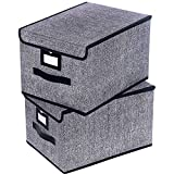 Onlyeasy Fabric Organizer Cube Basket Bin - Large Clothing Fabric Storage Box with Lid for Toys Clothes DVDs Books Art Craft, 11.8
