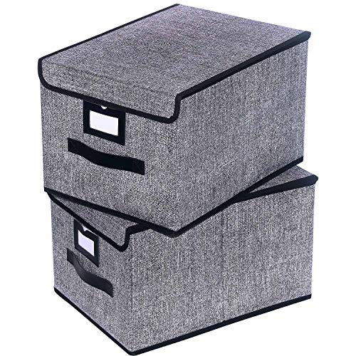 Onlyeasy Fabric Organizer Cube Basket Bin - Large Clothing Fabric Storage Box with Lid for Toys Clothes DVDs Books Art Craft, 11.8x15.7x9.8, Durable Black, 7MXALB2L