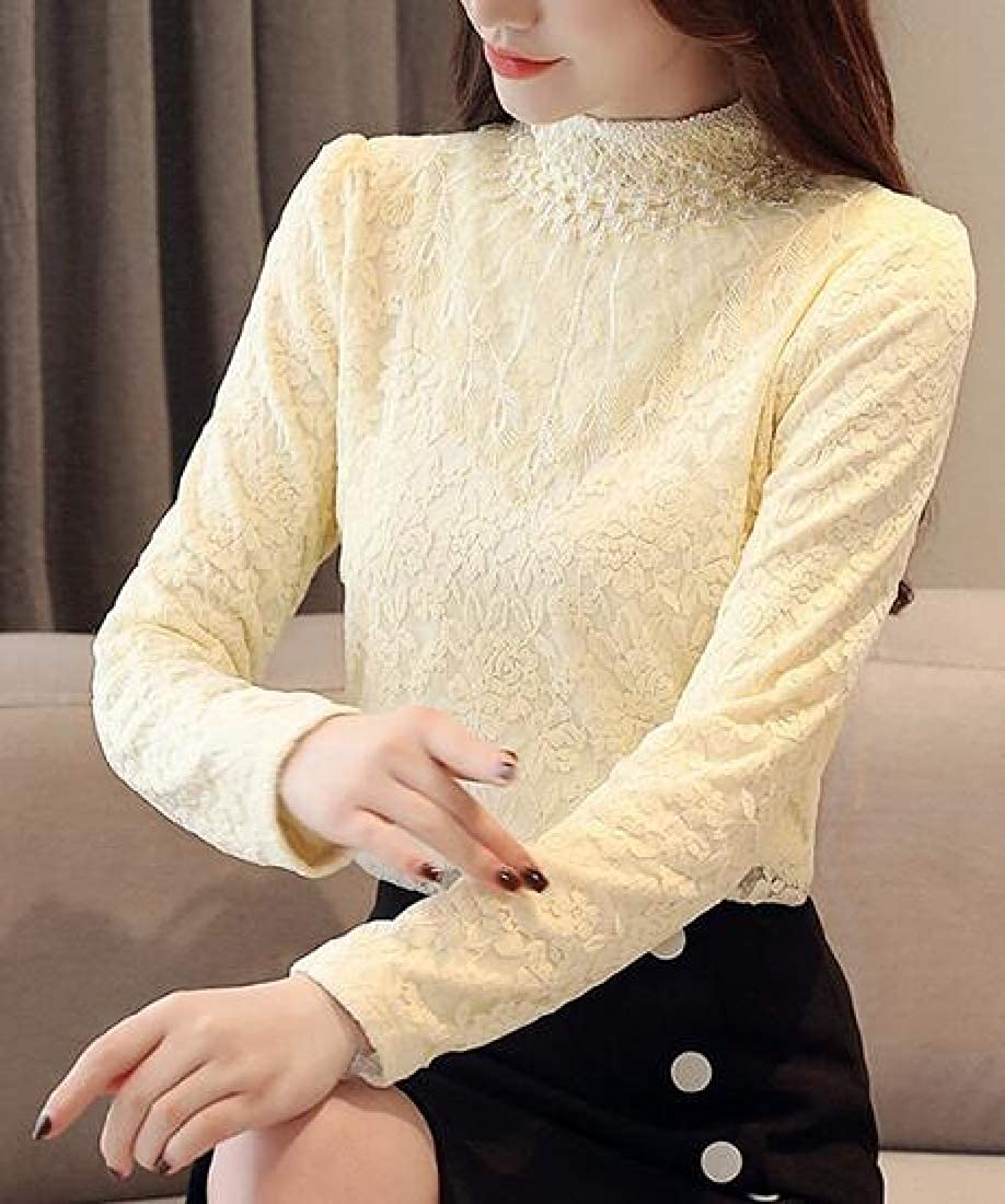 Jotebriyo Women Lace Long Sleeve Fleece Thicken Bottoming Shirt T-Shirt Blouse Top