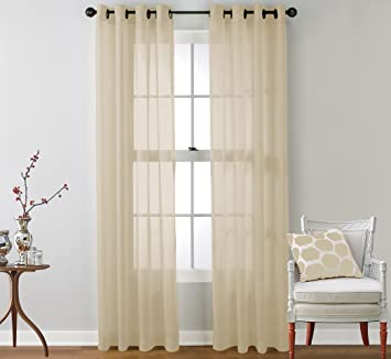 Sheer Curtains beige sheer curtains : Amazon.com: HLC.ME 2 Piece Sheer Window Curtain Grommet Panels ...