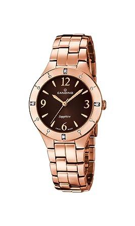 Candino Reloj Mujer de Cuarzo con Esfera Marrón Pantalla Analógica y Oro Rosa Pulsera de Acero Inoxidable C4573/2: Amazon.es: Relojes