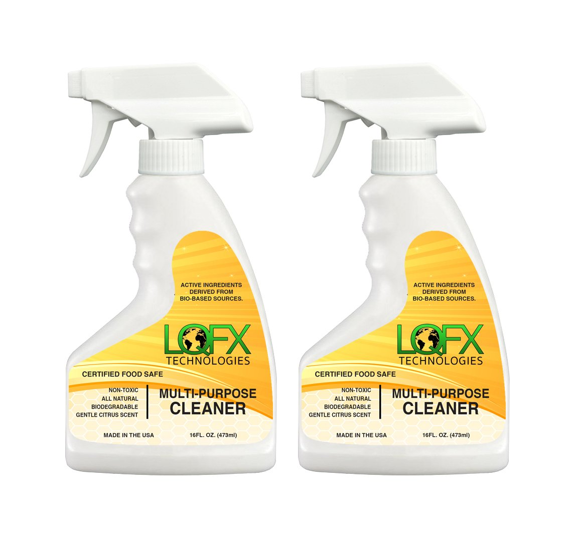 Liquifix LQFX Multi Purpose Cleaner Bio-Based Ingredients, Certified Non-Toxic, Food Safe, Safe Around Kids and Pets - 16oz 2-Pack