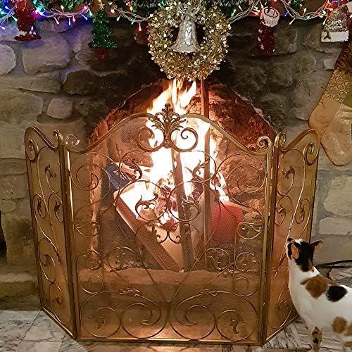 暖炉スクリーン ゴールド スクロールアイアンファンシー暖炉スクリーン、 3パネル 赤ちゃんとペットの安全な証拠 暖炉のフェンス スパークガード メッシュ付き 居間用 暖炉の装飾 (Color : Gold)