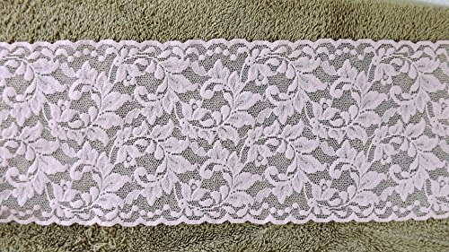 [12 Yards Stretch Flamingo Pink Floral Scalloped Lace 5 1/2