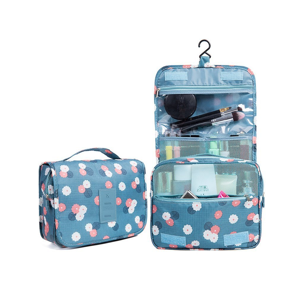 Toiletry Bag Multifunction Cosmetic Bag Portable Makeup Pouch Waterproof Travel Hanging Organizer Bag for Women Girls, Blue Flowers MKo