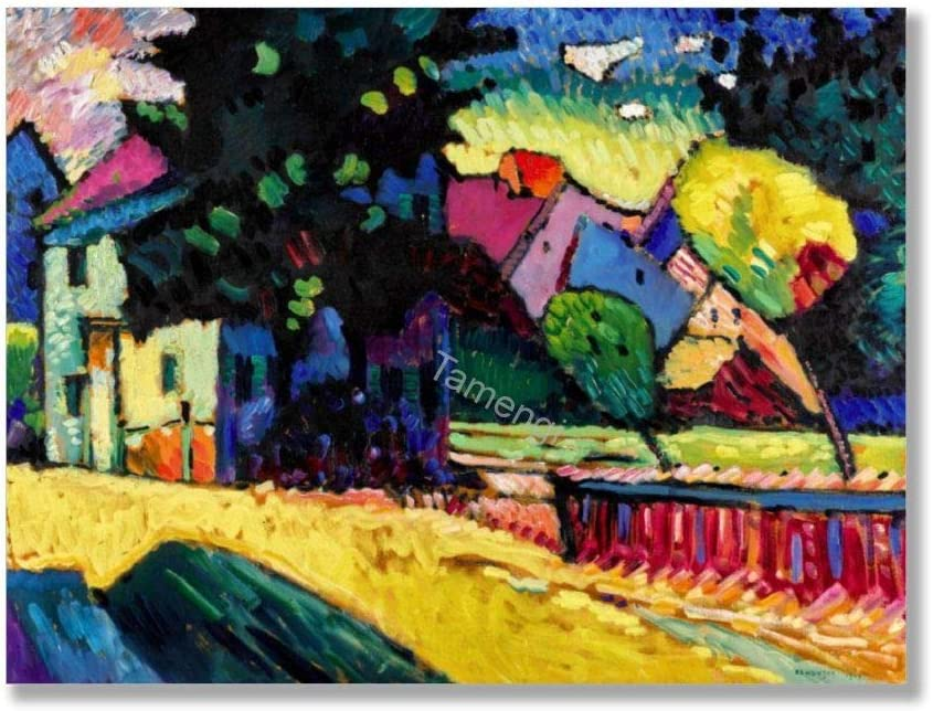 Tamengi View of Murnau with Railroad and Castle Kandinsky Art Print On Canvas 60x80cm, Canvas Wall Art Prints Unframed Posters for Living Room Bedroom Home Office Decor