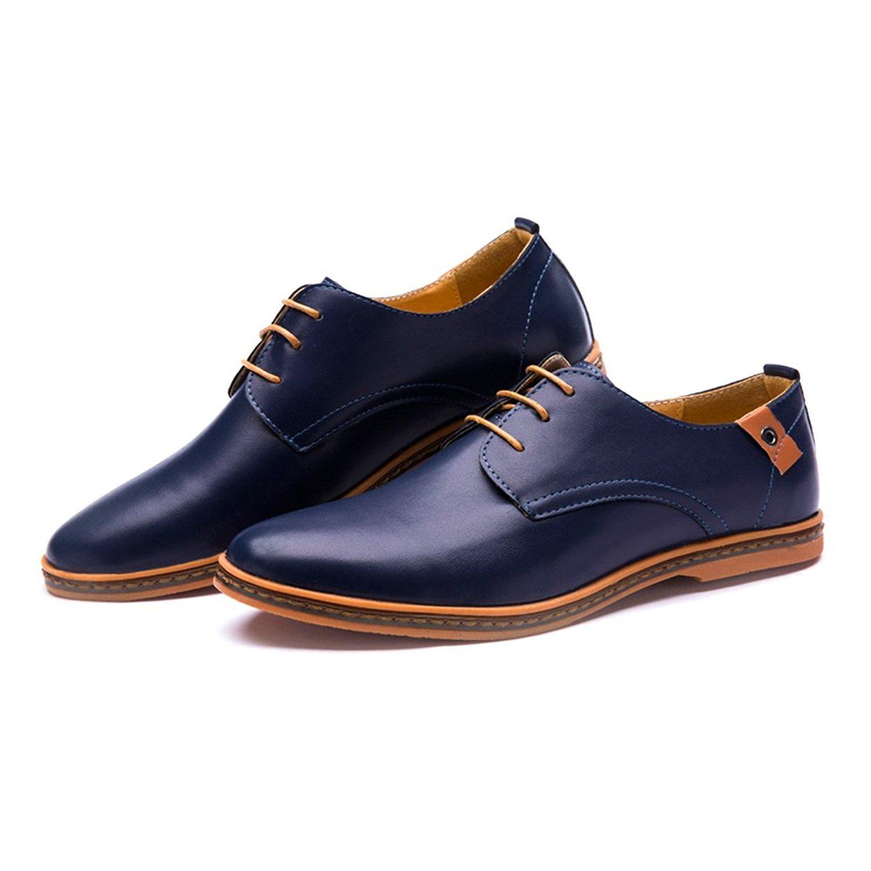 Minetom Homme Angleterre Style Casual Richelieu Derby Chaussures de Ville À Lacets Classique Commercial Chaussure Bout Pointu XMHCNv2HuK