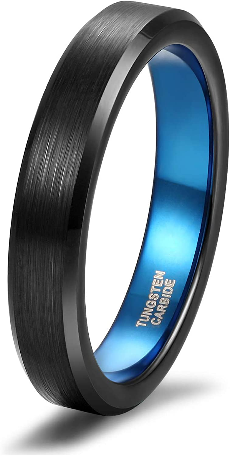 TRUMIUM 4mm 6mm Tungsten Ring Black Blue Two Tone Engraved I Love You Wedding Band Beveled Edge Comfort Fit Size 4-13