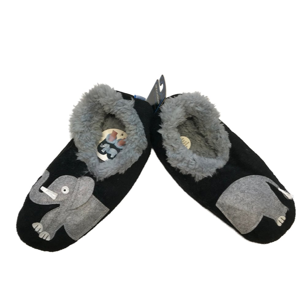 Snoozies Womens Classic Splitz Applique Non Skid Slipper Socks - Elephant, Large