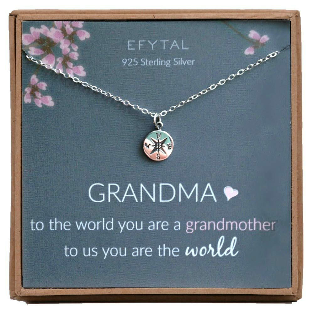 EFYTAL Mothers Day Grandma Gifts 925 Sterling Silver Compass Necklace For Grandmother Necklaces Women Best Birthday Gift Ideas Pendant Jewelry