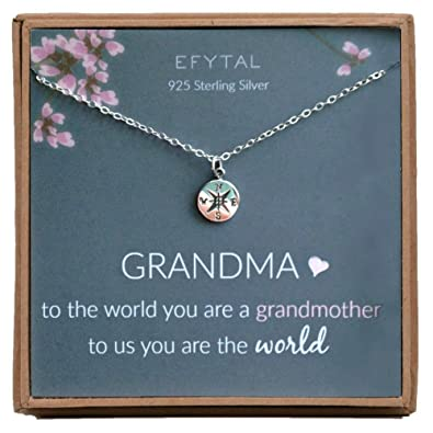 bac1ebbb6 EFYTAL Mother's Day Grandma Gifts, 925 Sterling Silver Compass Necklace for  Grandmother, Necklaces for