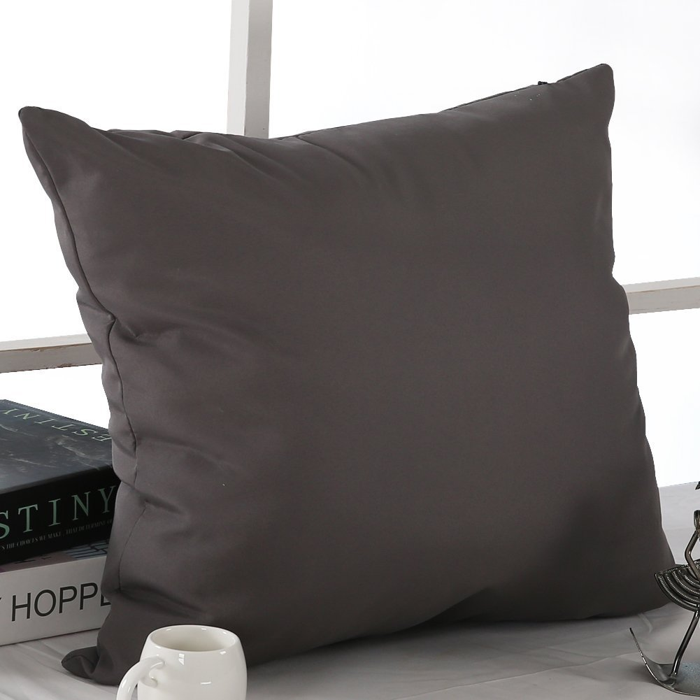 Set of 1 CS24142-1 Deconovo Super Soft Home Decorative Pillowcase Cushion Cover with Invisible Zipper for Chair 18 x18-Inch Dark Grey