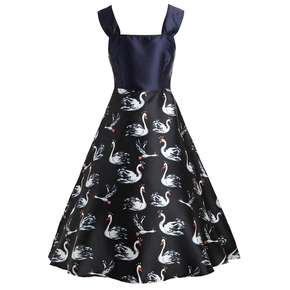 6aa62e3b3247 KCatsy Swan Print New Sleeveless Swing Dress at Amazon Women's Clothing  store: