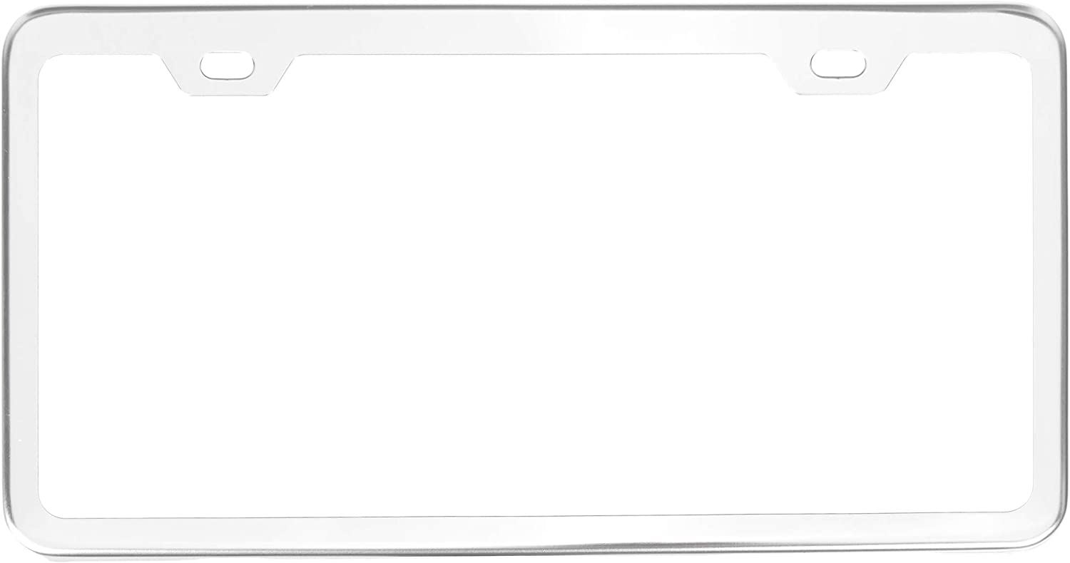 2-Hole 12.3/″ x 6.3/″ Chrome Mirror Basics Premium Stainless Steel License Plate Frame with Screw Caps