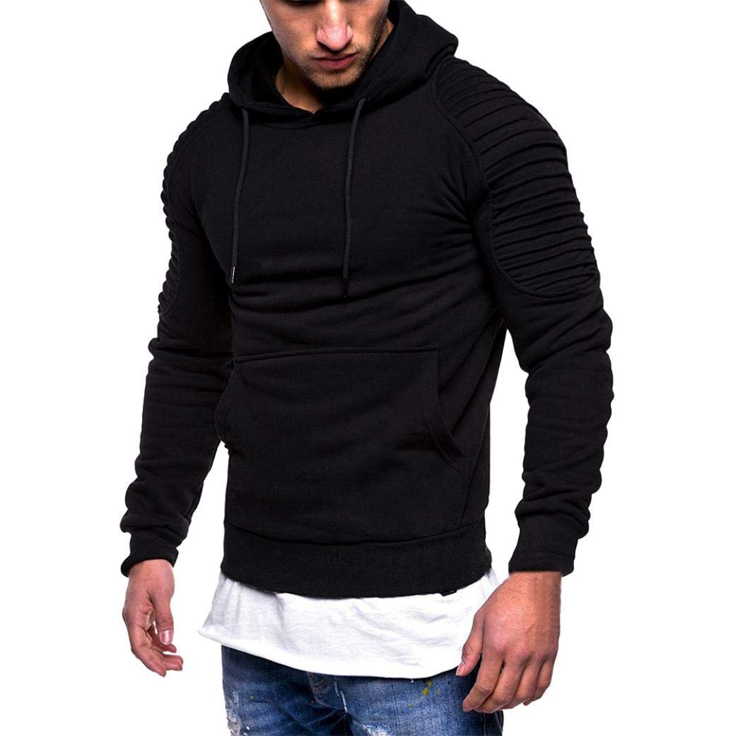Vicbovo 2018 Hipster Mens Autumn Winter Slim Fit Solid Hoodie Sweatshirt Ruched Long Sleeve Pullover Tops with Pocket (Black, XL)