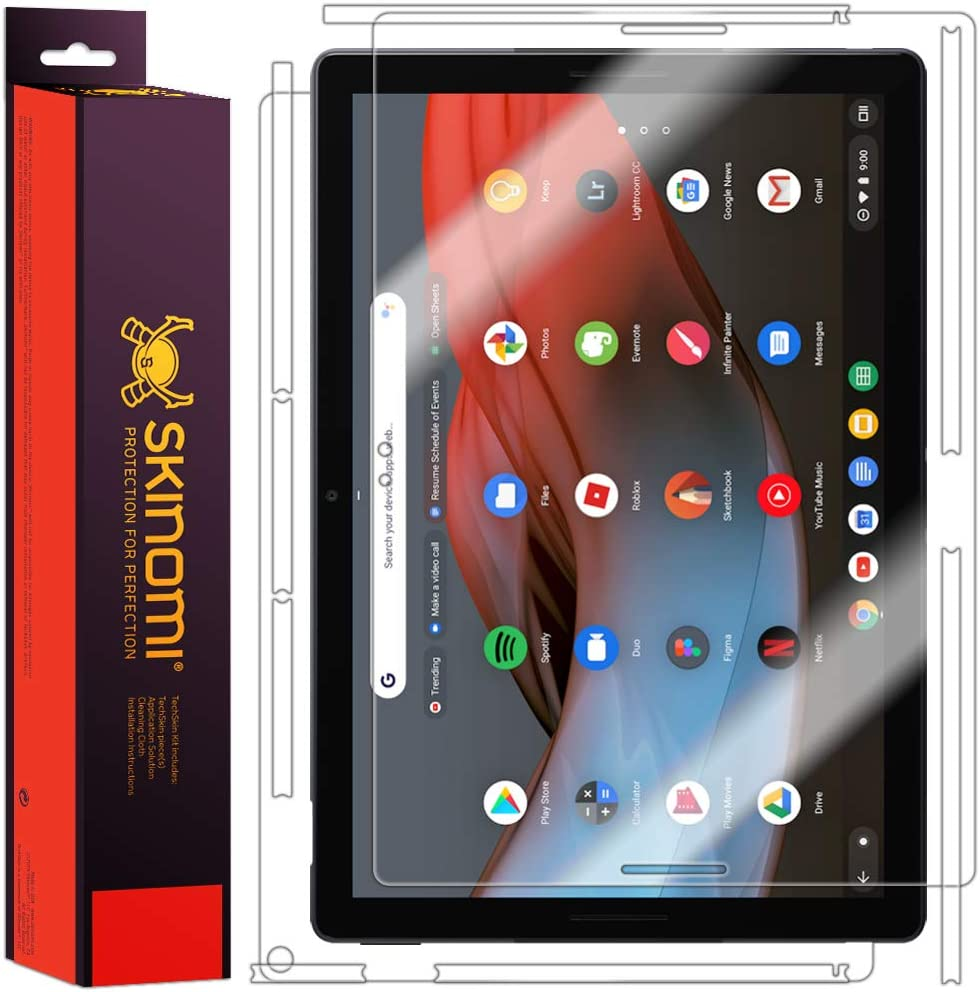 Screen Protector + Back Cover TechSkin Full Coverage Clear HD Film Skinomi Full Body Skin Protector Compatible with Google Pixel Slate